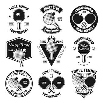 Set di ping pong o tennis da tavolo vettore emblemi neri, etichette, distintivi, loghi isolati su sfondo bianco