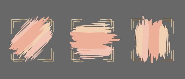 Set di pennellate rosa in cornice dorata modello di progettazione per la copertina della carta banner