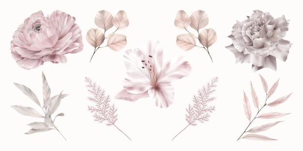 Set di fiori rosa con foglie rosa