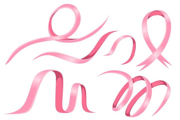 Set di nastro lucido rosa piatto illustrazione vettoriale isolato su sfondo bianco.