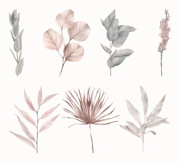 Set di foglie rosa e verdi