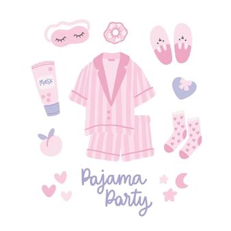 Set di accessori per il pigiama party rosa con scritte su sfondo bianco