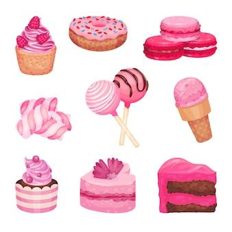 Set di dolci rosa isolato su bianco Vettore Premium