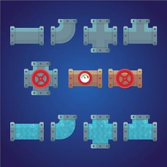 Set di tubazioni idrauliche isolato su blu scuro