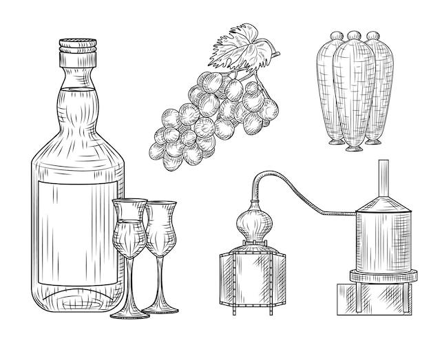 Set di pisco. perù della bevanda alcolica tradizionale. bottiglia, bicchiere, alambicco, uva, brocca. stile vintage inciso illustrazione vettoriale