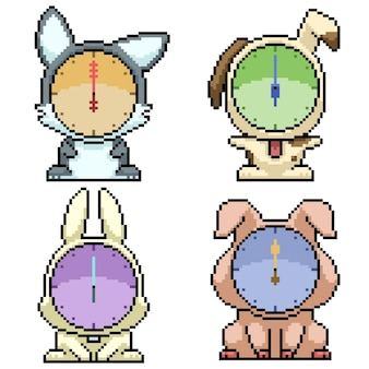 Set di pixel art isolato animale orologio