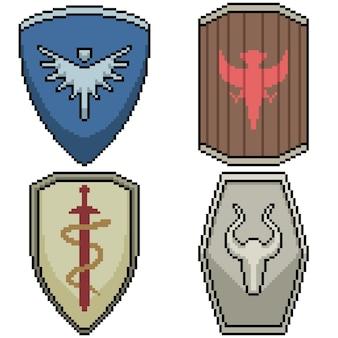Set di scudo cavaliere isolato pixel art