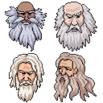 Set di pixel art isolato vecchio uomo con la barba