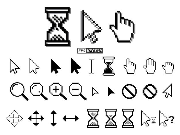 Set di cursori pixel o pixel clessidra o pixel cursore del mouse concetto vettoriale eps