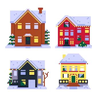 Set di case pixel isolate su sfondo bianco decorazioni natalizieillustrazione vettoriale in pixel art