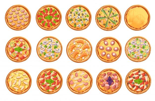 Insieme delle icone della pizza su bianco insieme di vista superiore della pizza. pagina del sito web e elemento dell'app mobile.