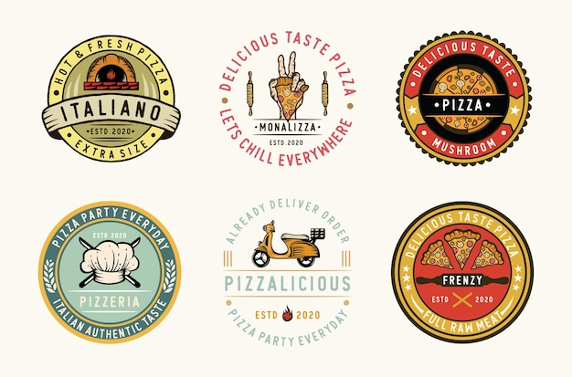 Set di etichette per pizza, distintivi ed elemento di design