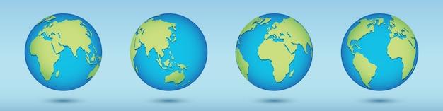 Set di icone del pianeta terra per banner web