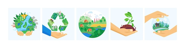 Imposta il pianeta nella protezione globale dell'ecologia delle mani umane. il concetto di giornata della terra ricicla le risorse energetiche alternative e la generazione di energia. conservazione ambientale eco città natura salva cartone animato vettore