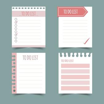 Set di pianificatori e fare lists.planners, check list. isolato. illustrazione.