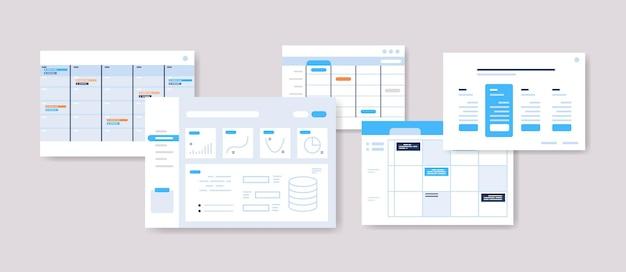 Impostare i programmi di pianificazione modelli di dashboard infografici pianificatore online organizzazione concetto di gestione del tempo illustrazione vettoriale orizzontale Vettore Premium