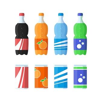 Set di bottiglia di plastica d'acqua e dolce sodaflat design icona illustrazione vettoriale