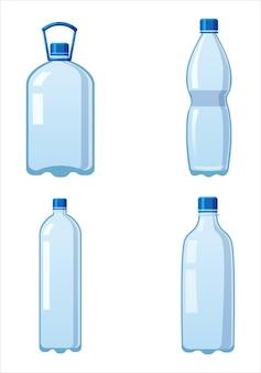 Impostare bottiglie d'acqua in plastica icona contenitore liquido vuoto bevanda con tappo a vite per bere bevande