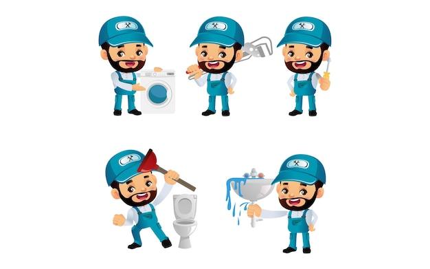 Set di idraulico con diverse pose