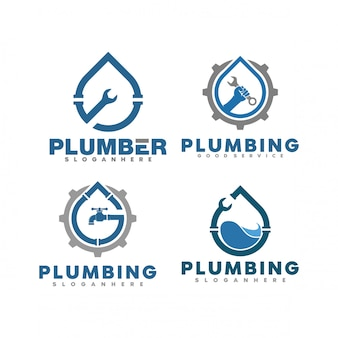 Set di illustrazione logo idraulico