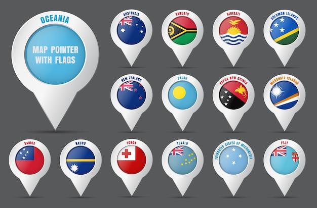 Posiziona il puntatore sulla mappa con la bandiera dei paesi dell'oceania e i loro nomi.