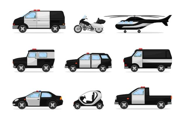 Set di veicoli della polizia in bianco e nero