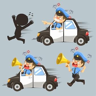 Set di polizia guida un'auto per catturare un ladro nel personaggio dei cartoni animati, illustrazione piatta isolata
