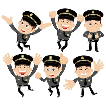Set di personaggi di poliziotti in diverse pose