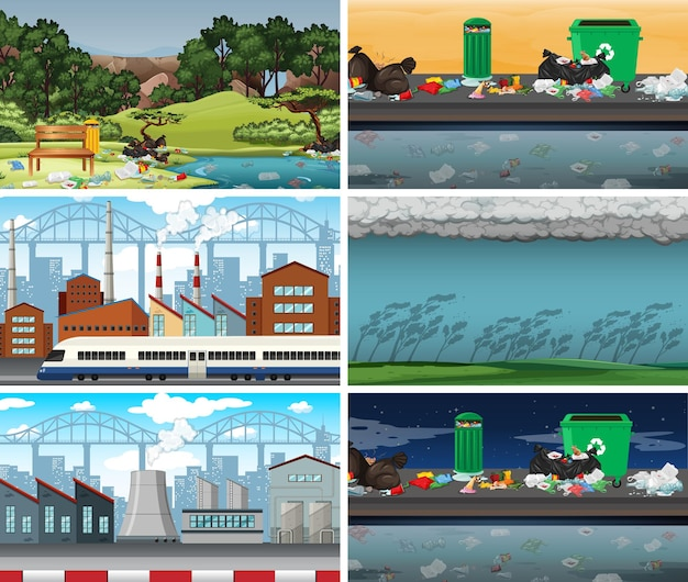 Serie di scene inquinate