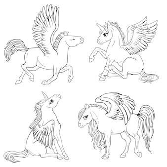 Set di pony da colorare pagina.