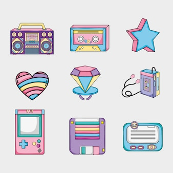 Set di raccolta di cartoni animati pop art