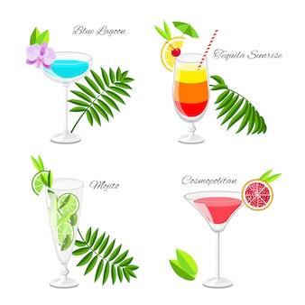Set di cocktail popolari decorati con fette di frutta e fiori tropicali in stile cartone animato.