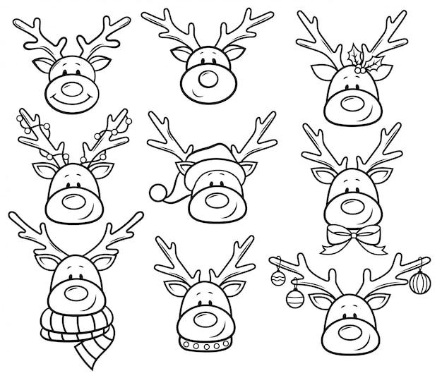Set di ritratto di cervi di natale. raccolta di personaggi di una simpatica renna festiva.