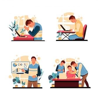 Set di ritratto delle attività dei dipendenti. concetto di design piatto. illustrazione