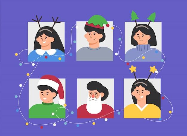 Impostare i ritratti di un gruppo di persone in festa in costumi natalizi con ghirlande.
