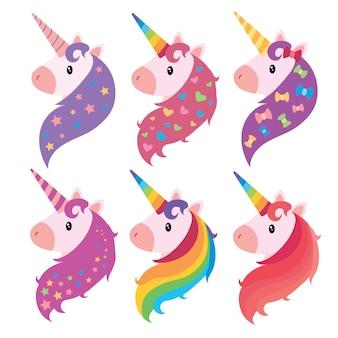 Una serie di ritratti di unicorni in stile cartone animato. una collezione di unicorni colorati.