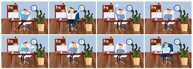 Set di pose uomo d'affari con diverse emozioni ed espressioni colore fumetto illustrazione vettoriale