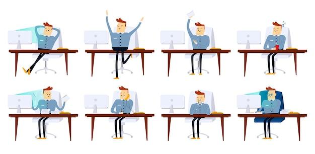 Set di pose uomo d'affari con diverse emozioni ed espressioni vista frontale colore vettoriale cartoon