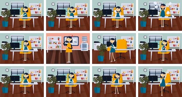 Set di pose donna d'affari con diverse emozioni ed espressioni colore piatto vettoriale cartoon