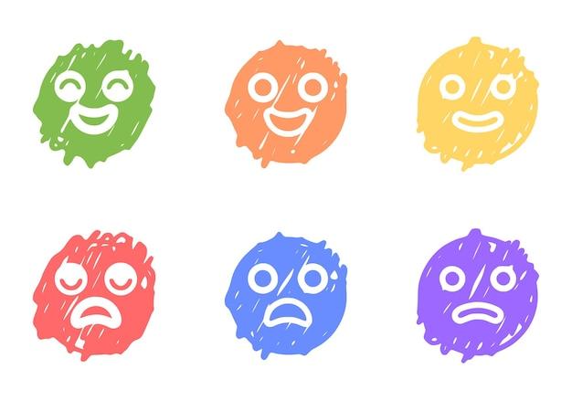 Set di emoticon positive e negative in stile doodle, clip art vettoriali