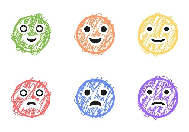 Set di emoticon positive e negative in stile scarabocchio, clip art vettoriali