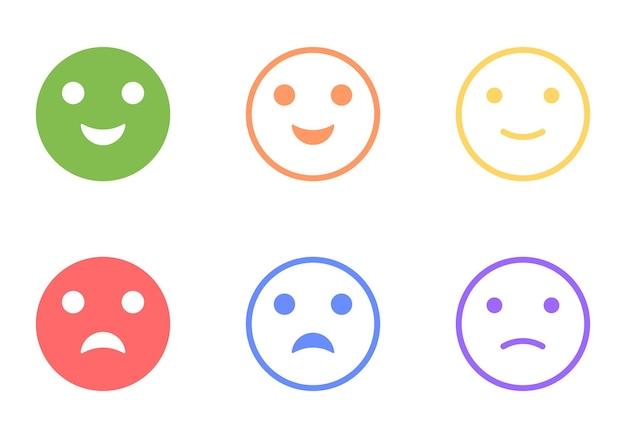 Set di emoticon positive e negative, clipart vettoriali