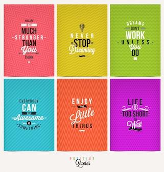 Set di sfondo tipografico citazione positiva -
