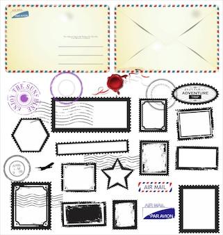 Insieme dei simboli del timbro postale, illustrazione vettoriale