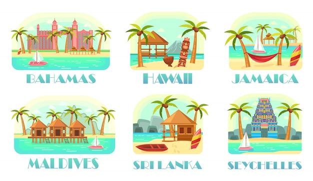 Set di cartoline per viaggi oceanici in luoghi esotici