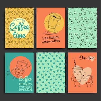 Set di modelli di cartoline, personaggi del caffè disegnati a mano