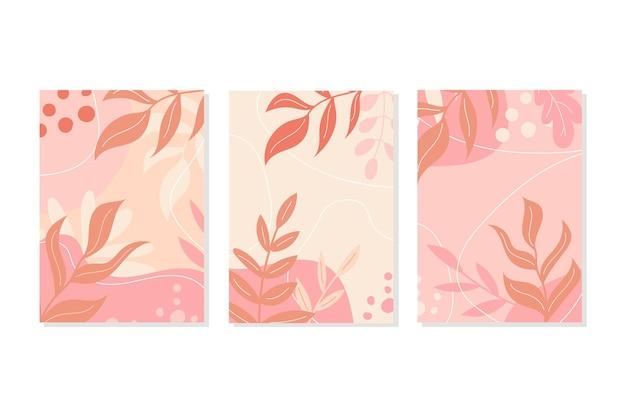 Una serie di cartoline in colori pastello rosa. foglie e decorazioni autunnali o primaverili