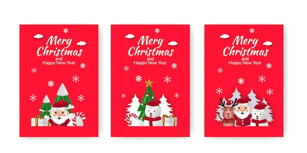 Set di poster annuncio buon natale e felice anno nuovo con sfondo carino illustrazione rosso