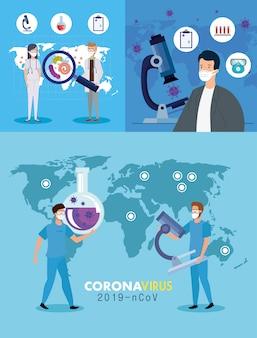 Impostare il poster di covid 19 con personale medico e medicina delle icone