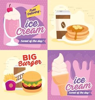Set poster, delizioso fast food